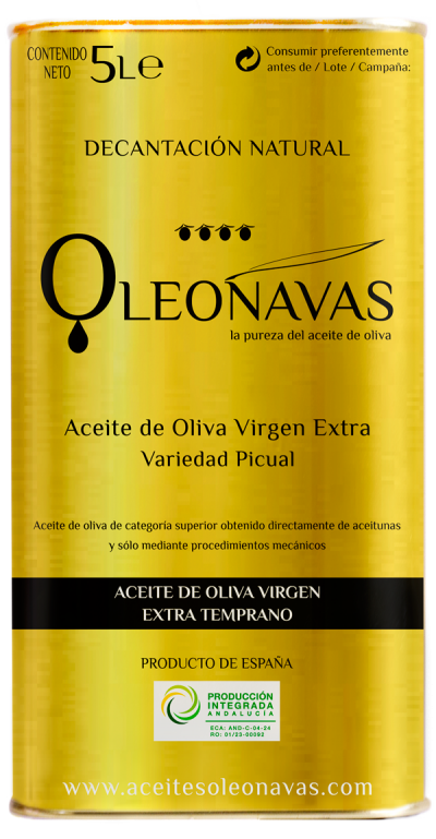 Caja de 3 latas de 5 L   Aceite de Oliva Virgen Extra TEMPRANO